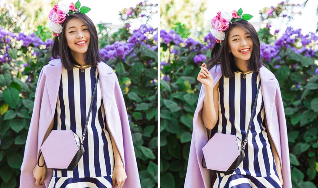 k-is-for-kani-spring-racing-carnival-floral-headpieces-navy-white-striped-dress-purple-coat-miista-4